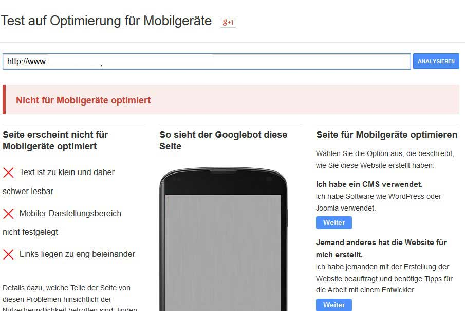Google Mobile freundlich Update nicht bestanden