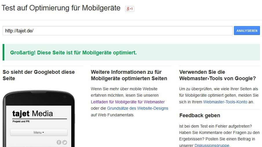 Google Mobile freundlich Update bestanden